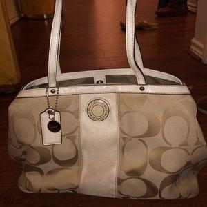 Cream and white Coach Sateen purse